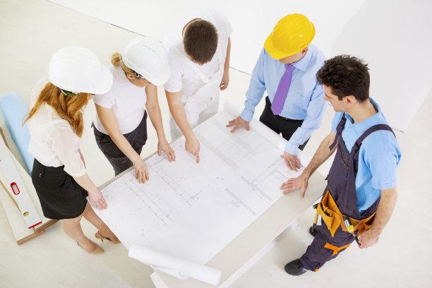 建筑工地,蓝图,建筑师,专门技术,团队,建筑承包商,制服,套装,男商人,经理