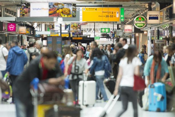 机场,群众,欧洲,史基浦机场,拥挤的,乘客,阿姆斯特丹,选择对焦,留白,通勤者