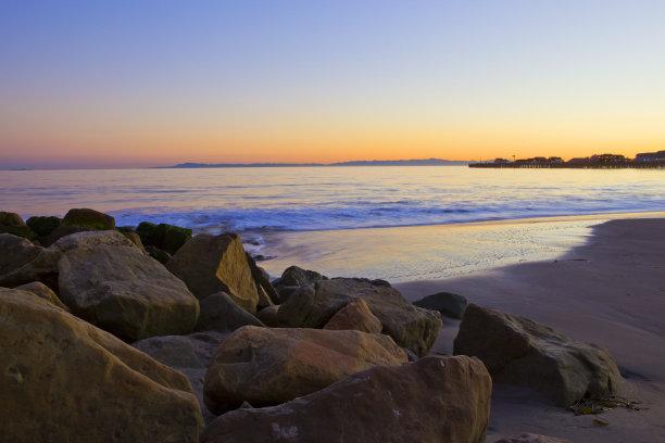 海滩,岩石,圣巴巴拉,水,天空,水平画幅,沙子,无人,户外,彩色图片