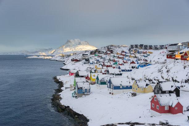 古城,因纽特人,南极洲,丹麦,北极,水,天空,雪,古老的,白色