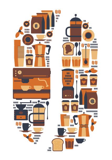 咖啡豆,滤压壶,磨咖啡机,咖啡机,烤咖啡豆,咖啡店,绘画插图,符号,标签,组物体