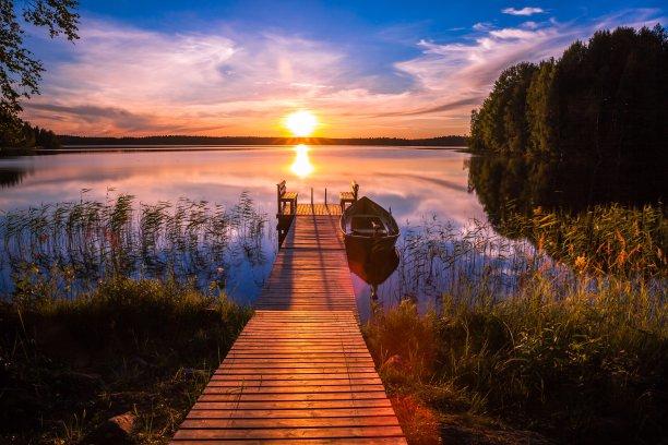芬兰,码头,湖,在上面,栈桥码头,芦苇,船,色彩鲜艳,池塘,风景