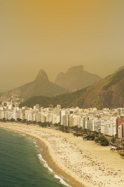 科巴卡巴纳海滩,垂直画幅,留白,休闲活动,高视角,沙子,椰子树,户外,居住区,滨水