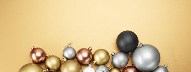 圣诞装饰,球,留白,边框,圣诞卡,水平画幅,银色,无人,圣诞礼物
