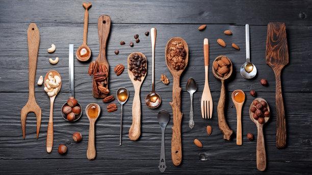 坚果,蜂蜜,汤匙,多样,餐具,水平画幅,食品杂货,无人,配方,甜点心
