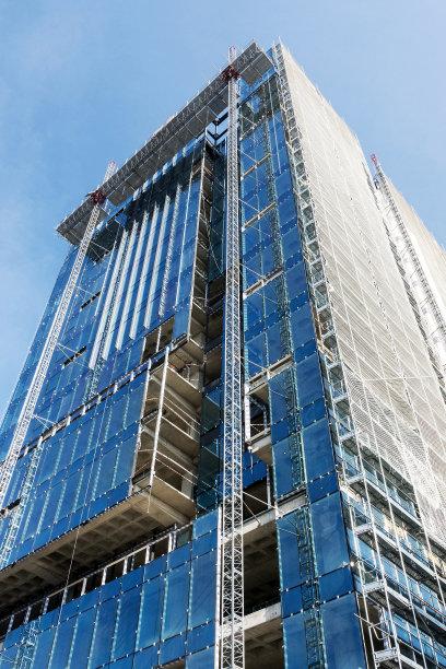 建筑业,伊斯坦布尔,摩天大楼,玻璃,土耳其,中长距离,幕墙,家居开发,正下方视角,远距离