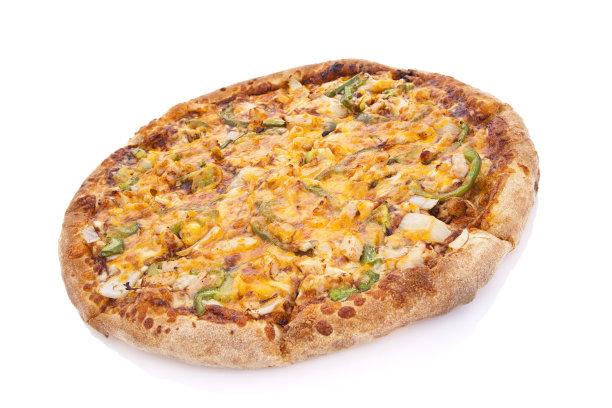 比萨饼,野餐烤鸡,青椒,水平画幅,无人,不健康食物,烧烤鸡,白色背景,快餐,奶酪