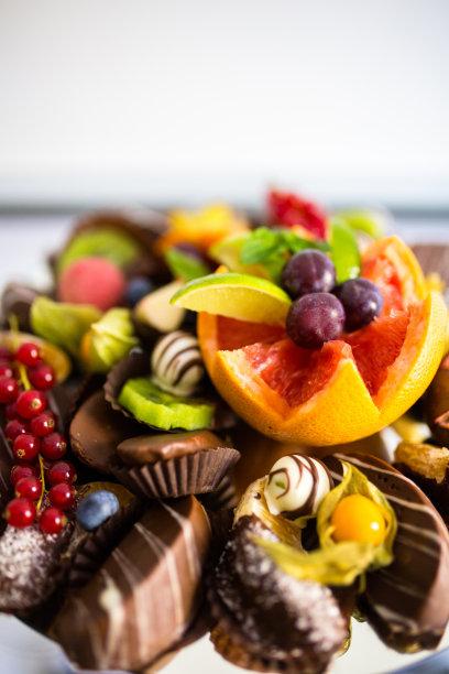 水果沙拉,热带气候,事件,饮食产业,餐具,沙漠,水果,份量,垂直画幅,开胃酱