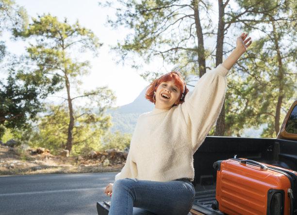 女人,幸福,旅游目的地,半身像,水平画幅,陆用车,旅行者,周末活动,户外,交通方式