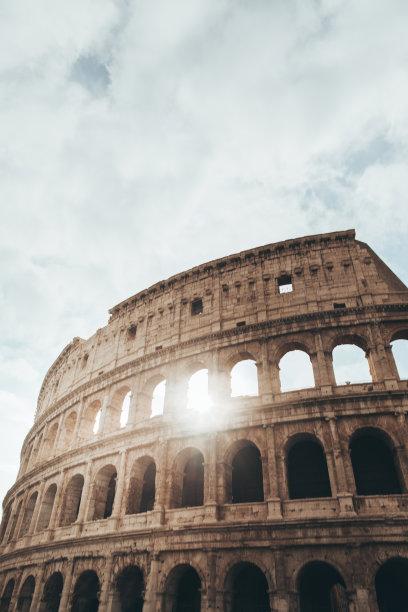 罗马,罗马斗兽场,垂直画幅,纪念碑,天空,城镇景观,古董,档案,无人,旅行者