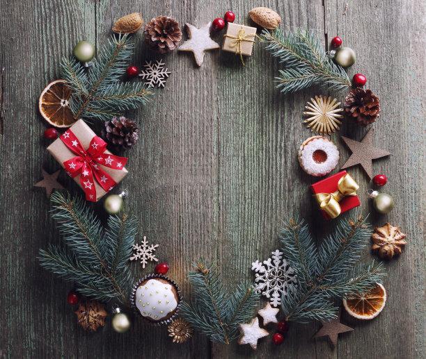 花环,贺卡,边框,水平画幅,无人,传统,古老的,姜饼人,圣诞树