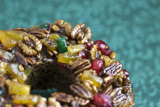 特写,水果蛋糕,坚果,水平画幅,醉樱桃,传统,甜点心,美洲山核桃,菠萝