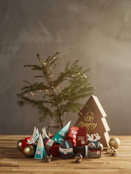 圣诞日历,圣诞节,静物,礼物,圣诞礼物,舒服,降临节,垂直画幅,留白,无人