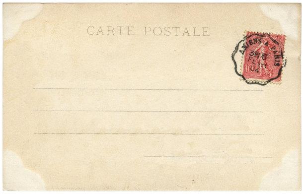 明信片,法国,空白的,背景,传统,巴黎,沟通,复古,寄送