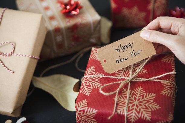 新年前夕,裹住,礼物,贺卡,圣诞卡,牛皮纸,水平画幅,新年,圣诞礼物