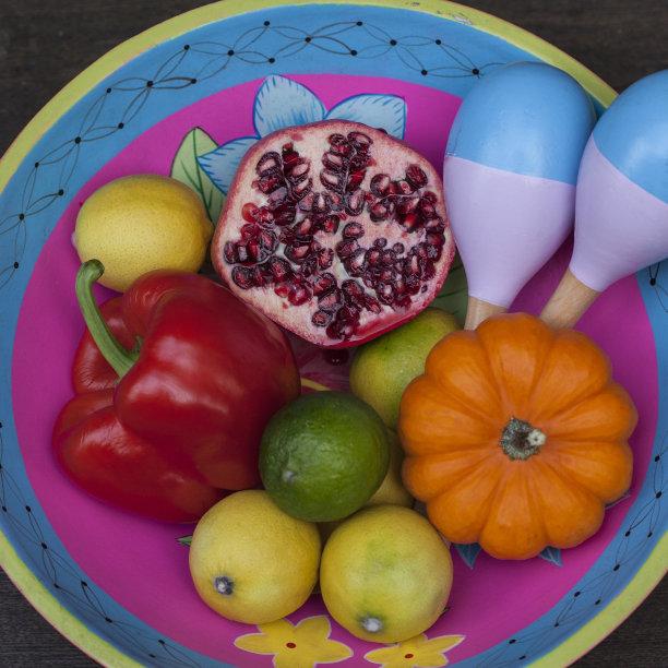墨西哥,多色的,石榴籽,灯笼椒,无人,南瓜,椒类食物,方形画幅,乐器,拉丁美洲