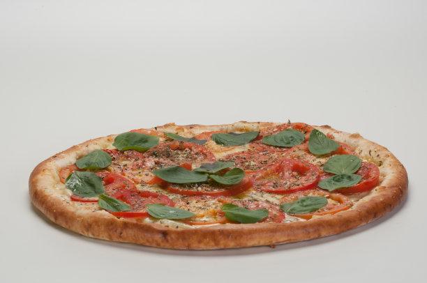 比萨饼,马格丽特披萨,水平画幅,非洲蓝罗勒,香橙皮,精力,膳食,牛至,莫扎瑞拉奶酪,奶酪