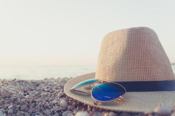 夏天,希腊,欧洲,米尔托斯海滩,凯法劳尼亚,天空,留白,休闲活动,草帽,海岸地形
