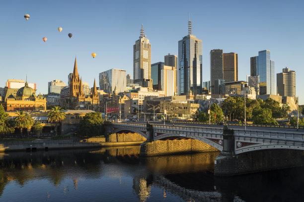 熱氣球,在上面,墨爾本,水平畫幅,無人,半空中,早晨,氣球,戶外,明亮