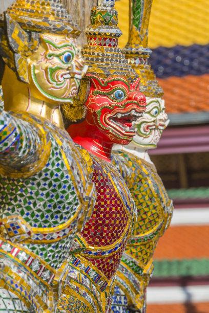 泰国,曼谷,魔鬼,玉佛寺,垂直画幅,灵性,无人,户外,班戈寇科省,僧院