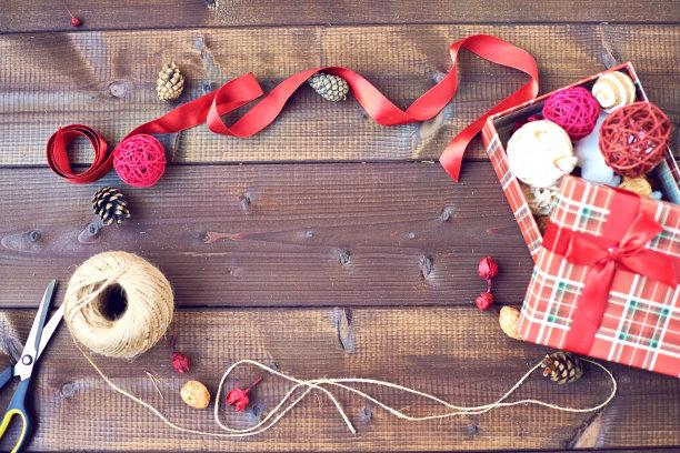 圣诞礼物,自己动手,边框,水平画幅,高视角,无人,盒子,组物体,线绳