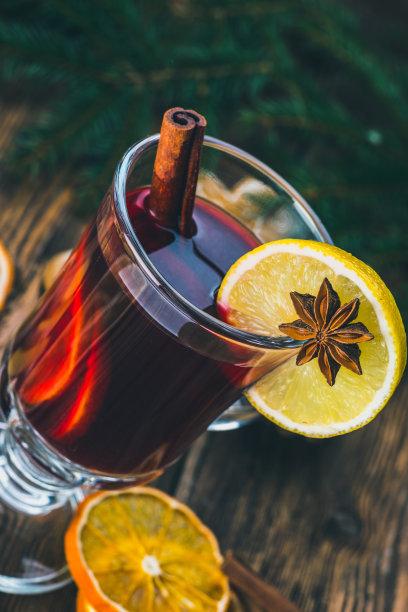 香料,橙子,热甜红酒,静物,垂直画幅,葡萄酒,贺卡,含酒精饮料,干的,饮料
