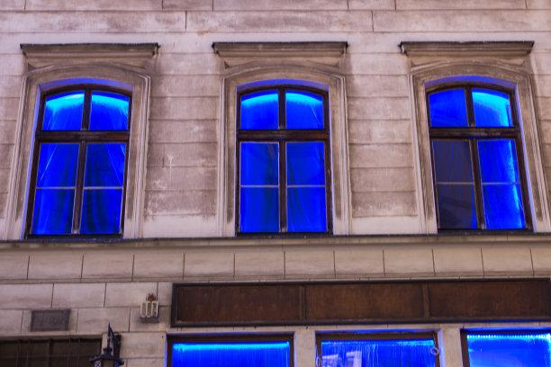 路灯,蓝色,房屋,拱门国家公园,小波兰省,夜总会,窗帘,窗户,水平画幅,无人