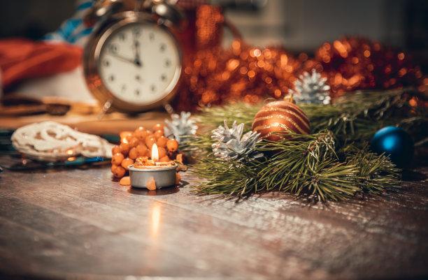 冬天,球,高视角,干的,钟,秃树,甜点心,新年,新年前夕