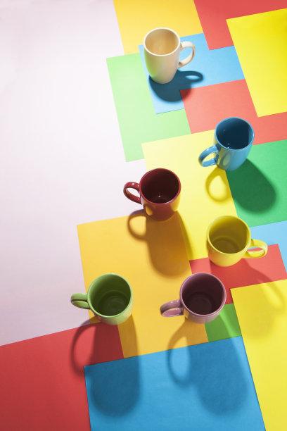 杯,垂直画幅,艺术,绿色,无人,蓝色,茶杯,抽象,阴影,组物体