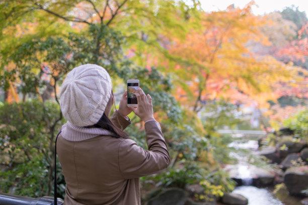秋天,青年女人,灌木,半身像,休闲活动,黑发,旅行者,周末活动,仅成年人,日本人
