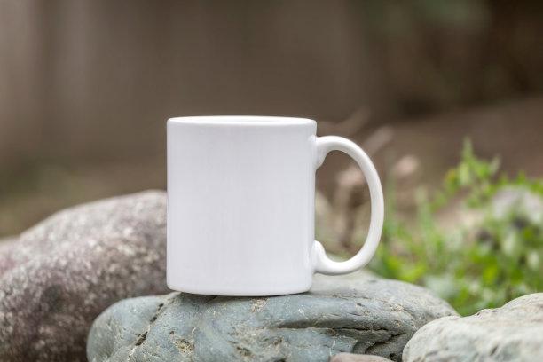 马克杯,空白的,咖啡,留白,褐色,水平画幅,无人,茶碟,早晨,户外