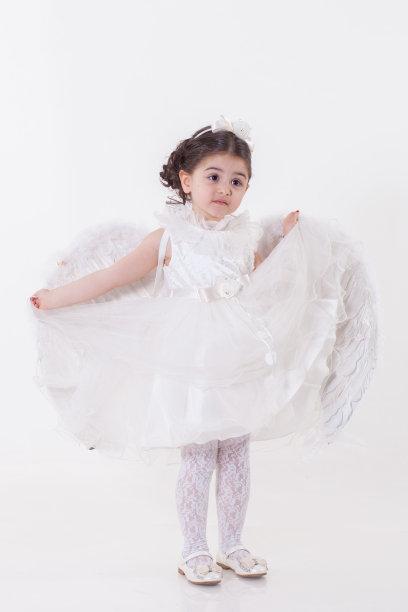 白色,女孩,公主,垂直画幅,学龄前,女子晚礼服,仙女服,女生,魅力,儿童