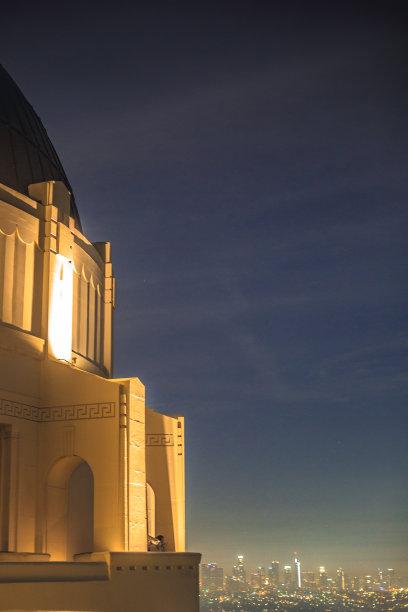 夜晚,格里菲思公园天文台,垂直画幅,天空,art deco风格,水平画幅,高视角,无人,洛杉矶县,天文台