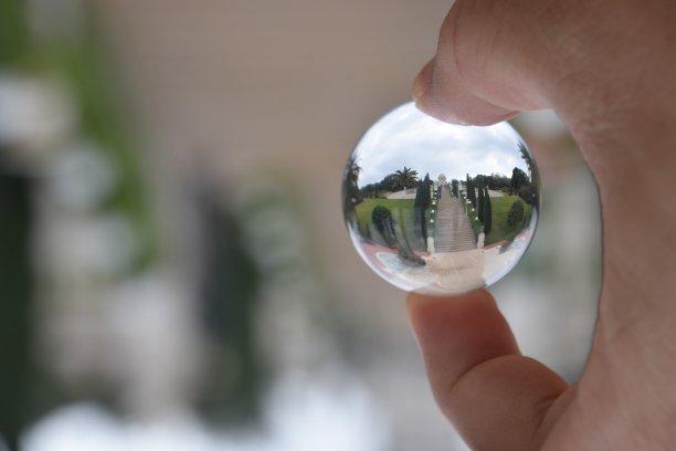 The Bahá'í Gardens through a crystal ball