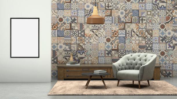 相框,灰色,围墙,扶手椅,空白的,前面,留白,艺术家,家庭生活,家具
