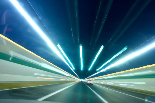 济南,中国,防尘帽,隧道,长时间曝光,混凝土,色彩鲜艳,迅速,水平画幅,夜晚