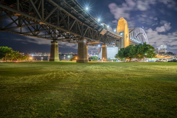 桥,澳大利亚,悉尼港湾,夜晚,水,天空,美,新南威尔士,水平画幅,云