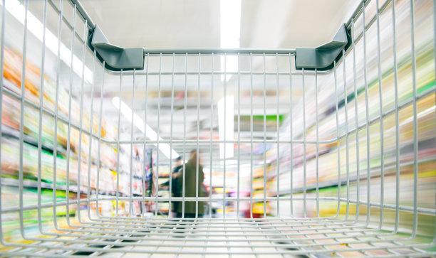 超级市场,购物车,空的,水平画幅,顾客,架子,商店,特写,商业金融和工业,清新
