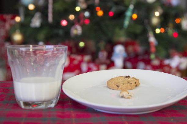 饼干,圣诞老公,水平画幅,圣诞老人,圣诞树,巧克力脆饼,充满的,空的,瓶子