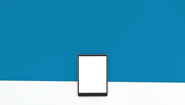计算机键盘,智能手机,平板电脑,航拍视角,蓝色背景,在上面,留白,高视角,电子邮件,现代