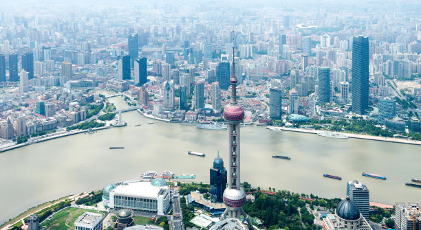 黄浦江,上海,航拍视角,摩天大楼,水,留白,未来,水平画幅,高视角,无人