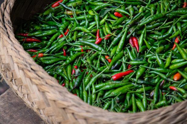 篮子,特写,红辣椒,辫状,水平画幅,巴厘岛,素食,巨大的,辣椒,东方食品