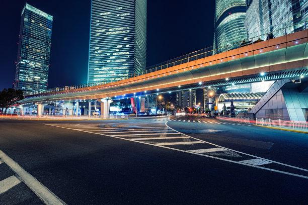 交通,城市生活,水平画幅,夜晚,无人,陆用车,户外,浦东,交通方式,非凡的