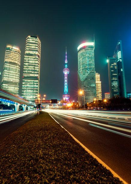 交通,城市生活,垂直画幅,夜晚,无人,陆用车,户外,浦东,交通方式,非凡的