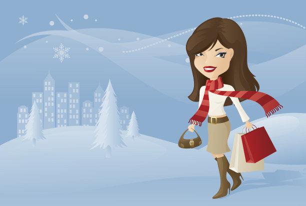 冬天,褐色,山,雪,绘画插图,圣诞树,白人,圣诞礼物,靴子