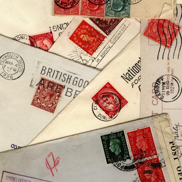 英国,堆,邮件,无人,古老的,邮戳,文档,信封,明信片,过时的