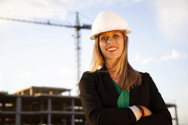 建筑业,工程师,女性,美,水平画幅,注视镜头,美人,户外,白人,经理