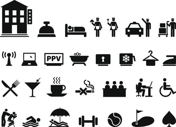 矢量,个人卫生用品,黑白图片,酒店,图标集,水,绘画插图,含酒精饮料,饮料,看门人