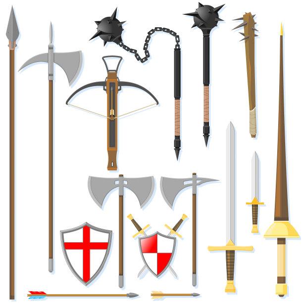 古董,過時的,尖的,盾,無人,繪畫插圖,古老的,古典式,長矛