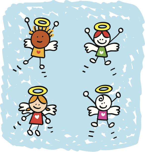 情人节,人群,丘比特,天使,绘画插图,天空,形状,卡通,彩色图片,儿童画